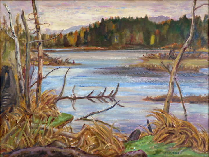 A.Y. Jackson Beaver Lake, Ontario, 1955 (circa) Oil on canvas - Huile sur toile 25 x 33 in 63.5 x 83.8 cm