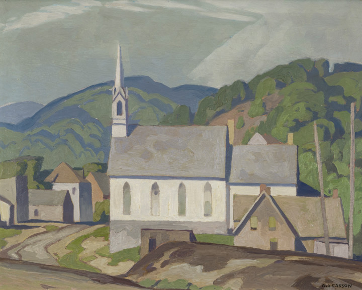 A.J. Casson The Village Church (at Barry's Bay), 1955 (circa) Oil on board 12 x 15 in 30.5 x 38.1 cm