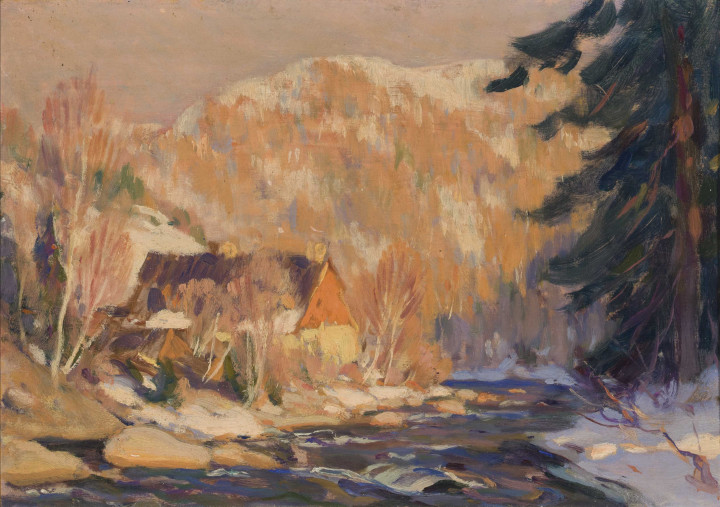 Clarence A. Gagnon The Old Mill or Automne dans Charlevoix, 1920 (circa) Oil on panel 6 x 9 in 15.2 x 22.9 cm