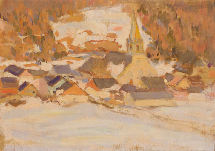 Clarence A. Gagnon Early Spring, St. Urbain, 1920 (circa) Oil on panel 5 3/4 x 8 3/4 in 14.6 x 22.2 cm