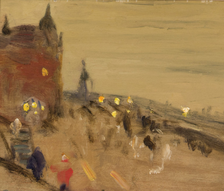 James Wilson Morrice The Promenade, Château Frontenac, Quebec, 1910 (circa) Oil on wood panel 4 1/2 x 5 1/4 in 11.4 x 13.3 cm This work will be included in the James Wilson Morrice catalogue raisonné being compiled by Lucie Dorais.