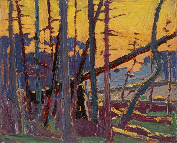 Tom Thomson Algonquin Evening, 1915 (Fall) Oil on wood 8 1/4 x 10 1/2 in 21 x 26.7 cm This work is included in the Tom Thomson, Catalogue Raisonné, published by Joan Murray, no. 1916.106, https://www.tomthomsoncatalogue.org