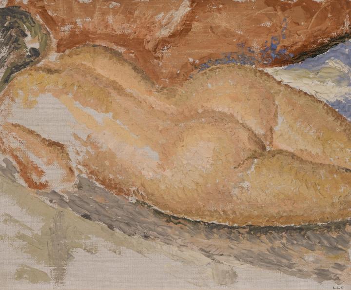 Lionel LeMoine FitzGerald Nude Oil on canvas board - Huile sur toile marouflée sur carton 10 x 12 in 25.4 x 30.5 cm