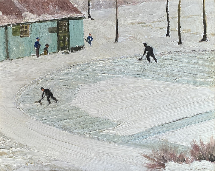 Frederick B. Taylor Cleaning The Ice, Beaver Pond - Mt. Royal, 1949 (December 22) Oil on panel 8 3/4 x 10 1/4 in 22.4 x 26.2 cm