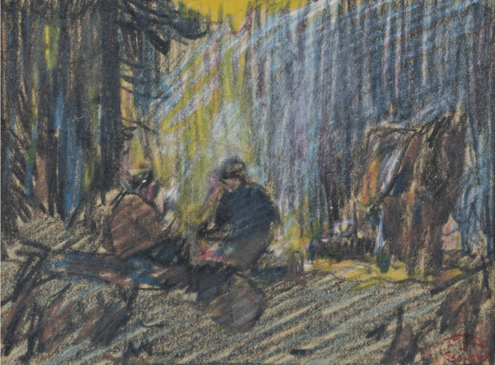 Clarence A. Gagnon Bûcherons en forêt Mixed media drawing 4 1/2 x 6 in 11.4 x 15.2 cm
