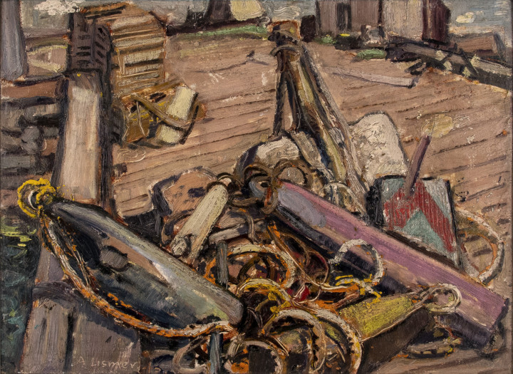 Arthur Lismer Ropes and Gear, Neil's Harbour, Cape Breton I., N.S., 1946 Oil on canvas board - Huile sur toile marouflée sur carton 12 x 16 in 30.5 x 40.6 cm