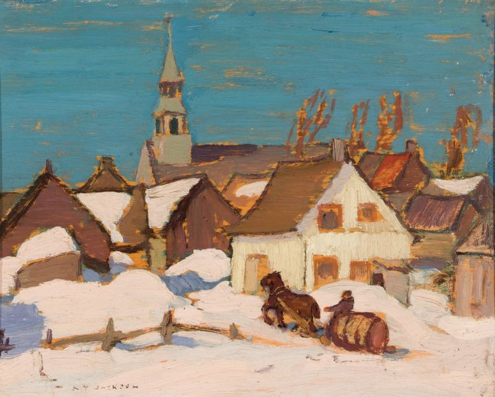 A.Y. Jackson Winter Scene, Les Éboulements, 1922 (circa) Oil on panel 8 1/2 x 10 1/2 in 21.6 x 26.7 cm
