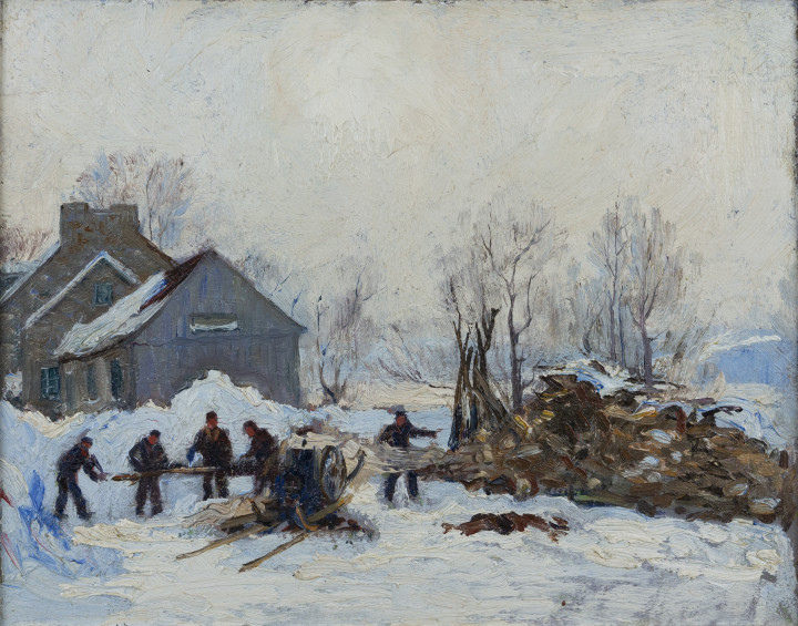 Robert Pilot Woodcutters, Winter Oil on panel 10 3/4 x 13 1/2 in 27.3 x 34.3 cm