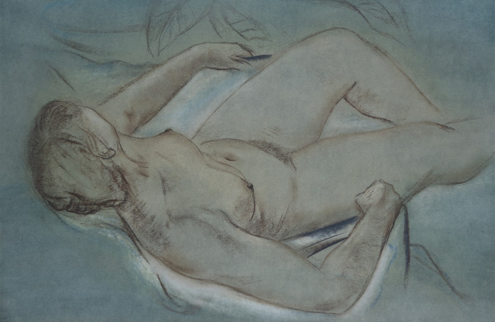Louis Muhlstock Reclining Nude Mixed media on paper 26 x 40 in 66 x 101.6 cm