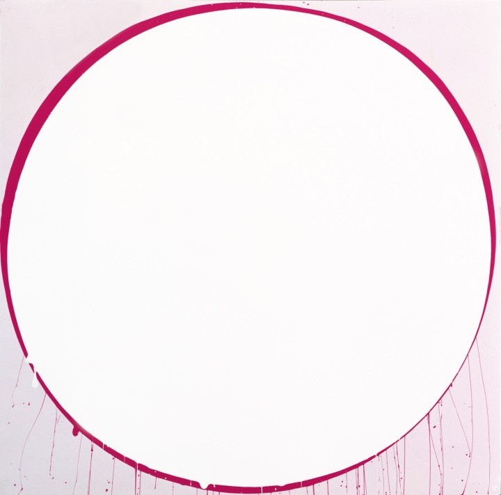 Untitled Circle Painting: Pale Lilac and Magenta