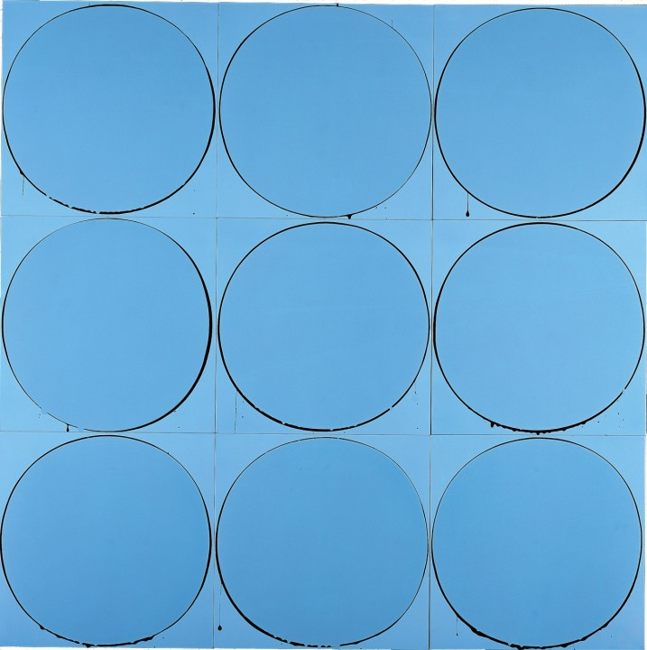 Untitled Circle Painting: Pale Blue/Black/Pale Blue, 2003