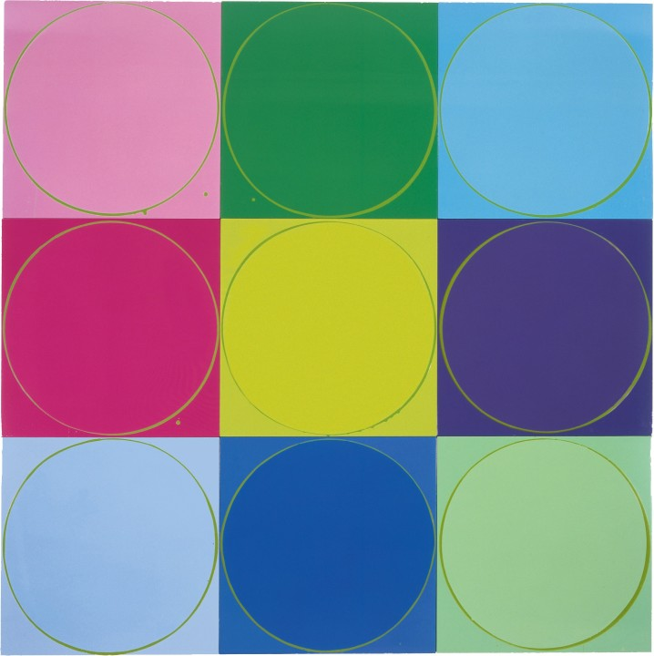 Untitled Circle Painting: 9 Multicoloured Panels with Green, 2005