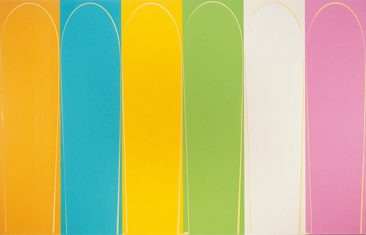 Poured Painting: Pink, Cream, Pale Green, Yellow, Pale Turquoise, Orange, 2000