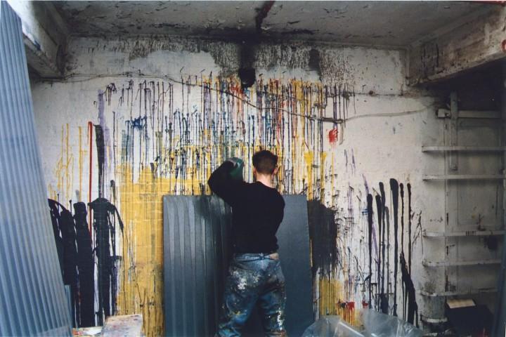 The artist working in his studio, 1993