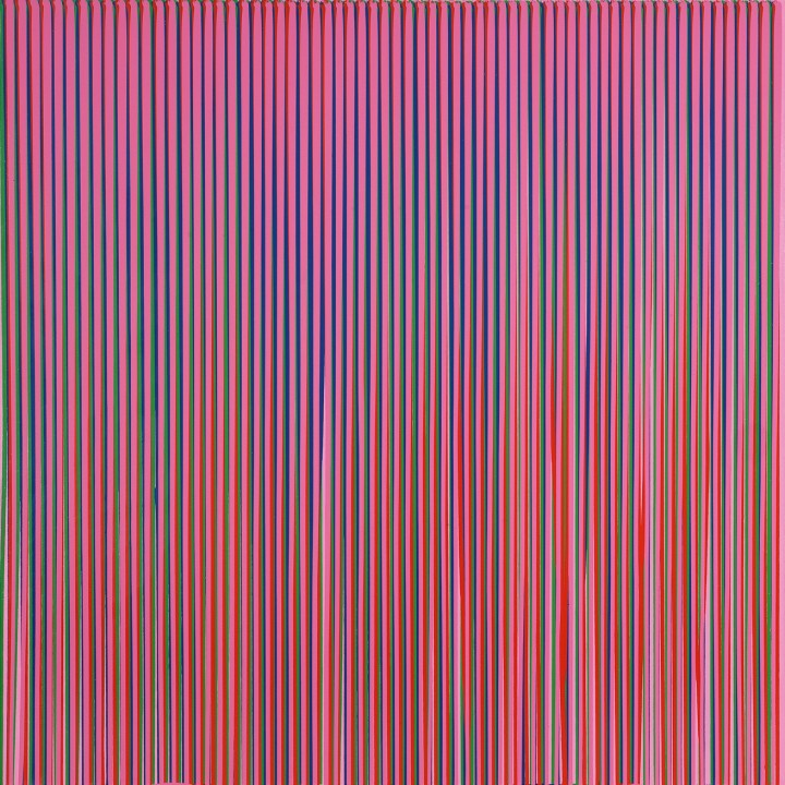 Poured Lines: Light Violet, Green, Blue, Red, Violet, 1995