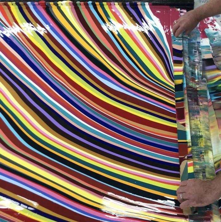 making a diagonal fall painting