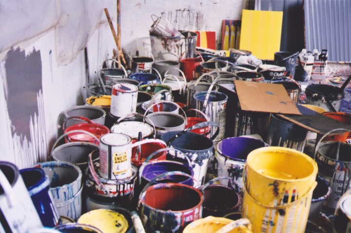 paint cans in the studio, 1992
