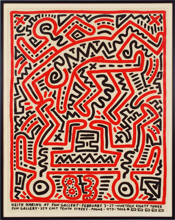 """<span class=""""artist""""><strong>Keith Haring</strong></span>, <span class=""""title""""><em>Fun Gallery Poster</em>, 1983</span>"""