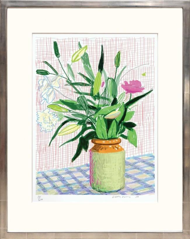 "<span class=""artist""><strong>David Hockney</strong></span>, <span class=""title""><em>Untitled 516 [Lilies]</em>, 2016</span>"