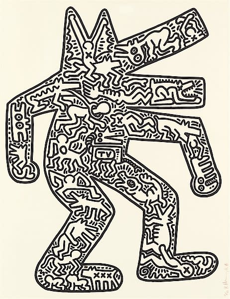 "<span class=""artist""><strong>Keith Haring</strong></span>, <span class=""title""><em>Dog</em>, 1986</span>"