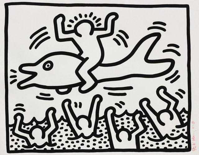 "<span class=""artist""><strong>Keith Haring</strong></span>, <span class=""title""><em>Untitled (Man on Dolphin)</em>, 1987</span>"
