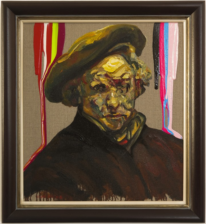 After Rembrandt, Self Portrait with Neon Stripes