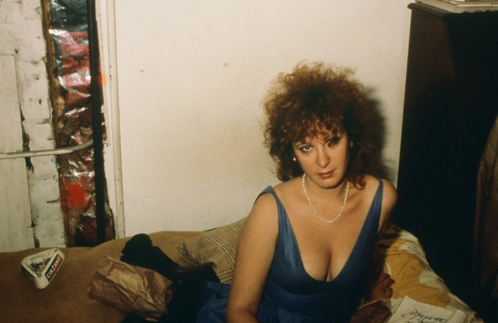 Self-portrait in blue dress, New York City, 1985