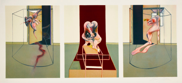 """<span class=""""artist""""><strong>Francis Bacon</strong></span>, <span class=""""title""""><em>Triptych Inspired by Oresteia of Aeschylus</em>, 1981</span>"""