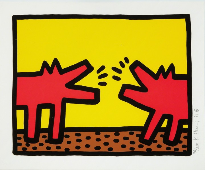 """<span class=""""artist""""><strong>Keith Haring</strong></span>, <span class=""""title""""><em>Barking Dogs (Pop Shop IV)</em>, 1989</span>"""