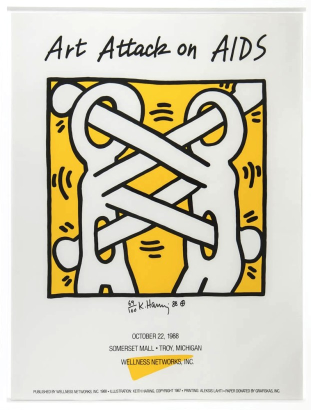 "<span class=""artist""><strong>Keith Haring</strong></span>, <span class=""title""><em>Attack on Aids</em>, 1988</span>"