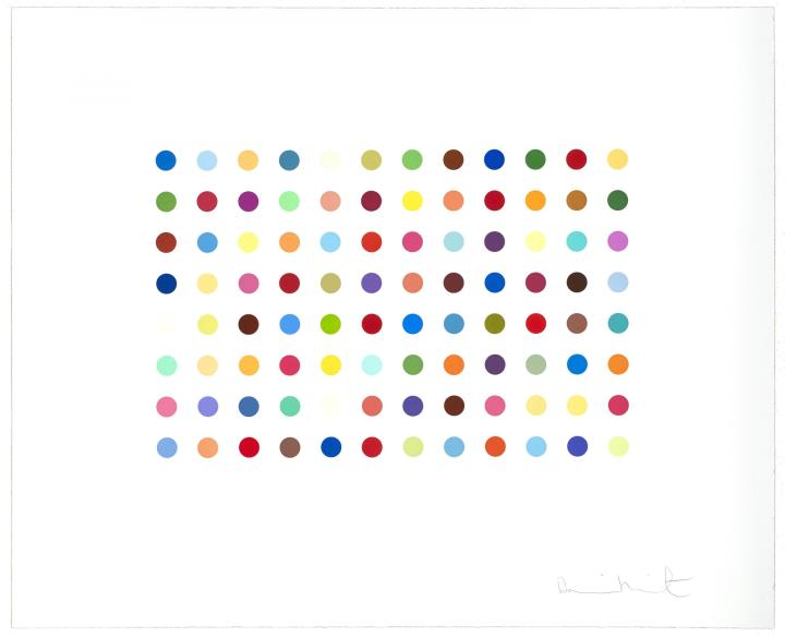 "<span class=""artist""><strong>Damien Hirst</strong></span>, <span class=""title""><em>Bromphenol Blue </em>, 2005</span>"