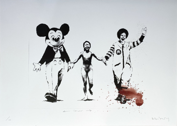 """<span class=""""artist""""><strong>Banksy</strong></span>, <span class=""""title""""><em>Napalm (Can't Beat the Feeling) Serpentine Edition</em>, 2006</span>"""