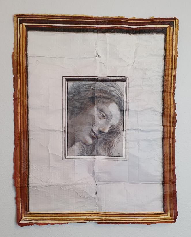 """Leonardo da Vinci. """"Cabeza de la Virgen vista de tres cuartos, mirando a la derecha"""""""