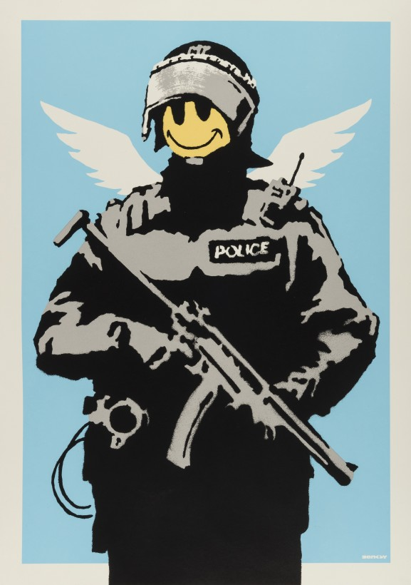 """<span class=""""artist""""><strong>Banksy</strong></span>, <span class=""""title""""><em>Flying Copper (Blue)</em>, 2003</span>"""