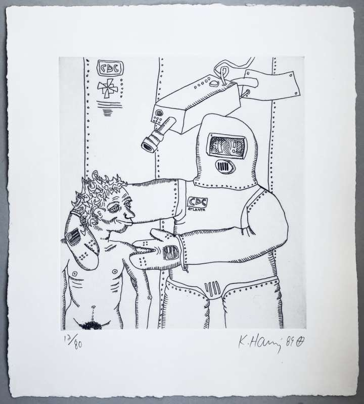 """<span class=""""artist""""><strong>Keith Haring</strong></span>, <span class=""""title""""><em>Robot and Man</em>, 1989</span>"""