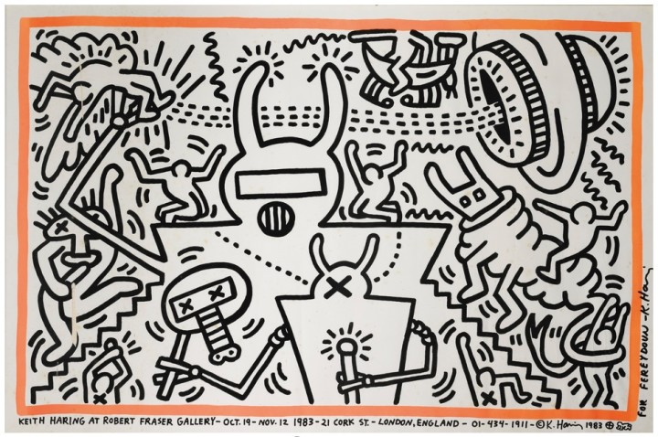 "<span class=""artist""><strong>Keith Haring</strong></span>, <span class=""title""><em>Robert Fraser Gallery Poster</em>, 1983</span>"