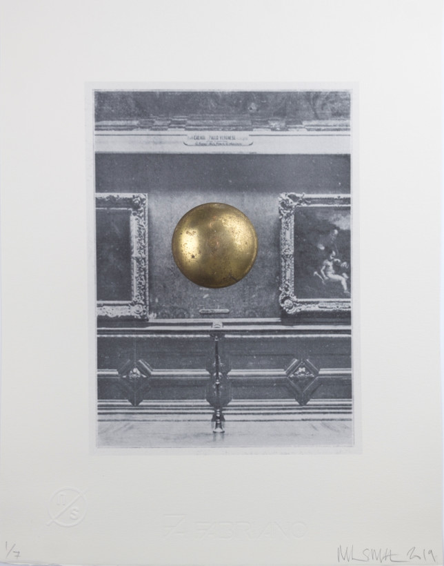 """<span class=""""artist""""><strong>Nick Smith</strong></span>, <span class=""""title""""><em>Louvre Wall with Door Knob (Mona Lisa)</em>, 2019</span>"""