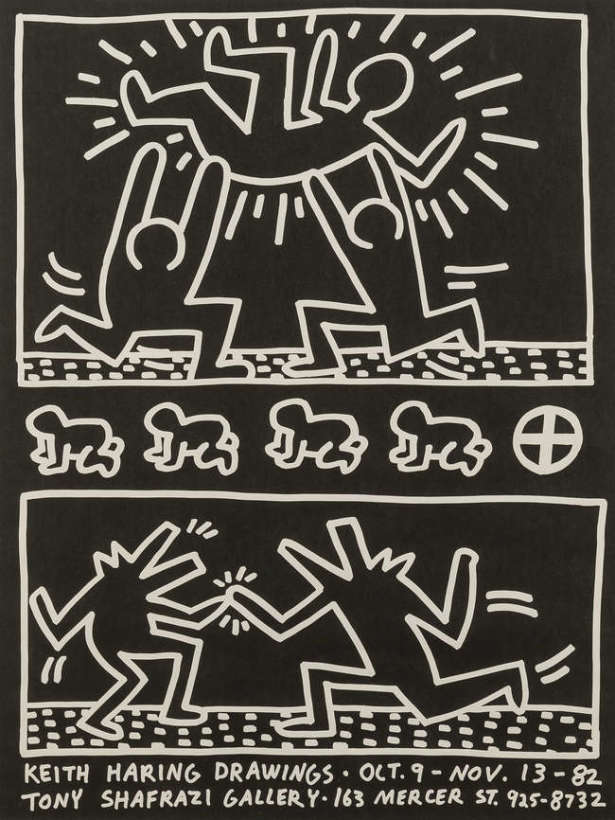 "<span class=""artist""><strong>Keith Haring</strong></span>, <span class=""title""><em>Tony Shafrazi Gallery Poster</em>, 1982</span>"