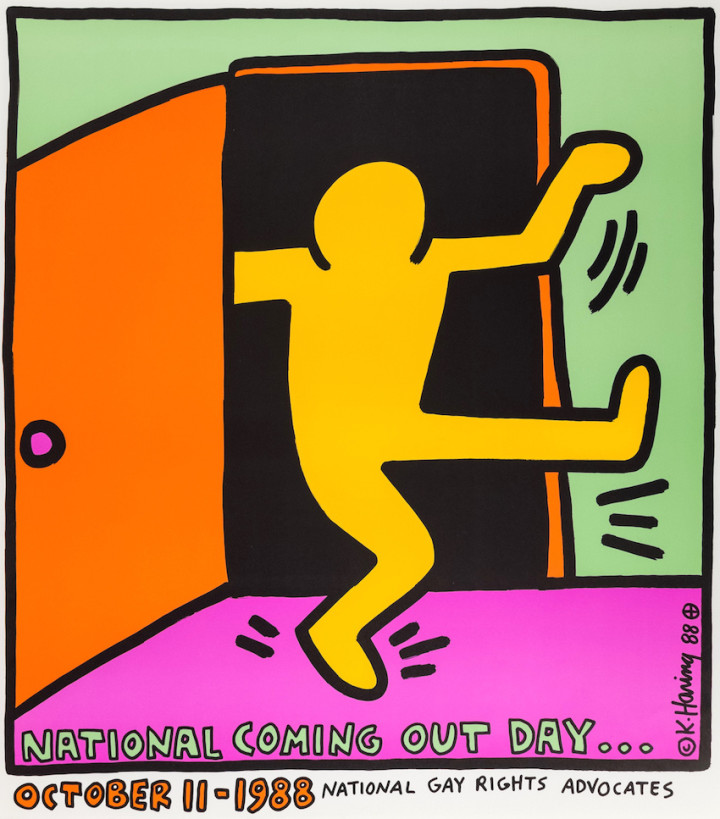 "<span class=""artist""><strong>Keith Haring</strong></span>, <span class=""title""><em>First National Coming Out Day Poster</em>, 1988</span>"
