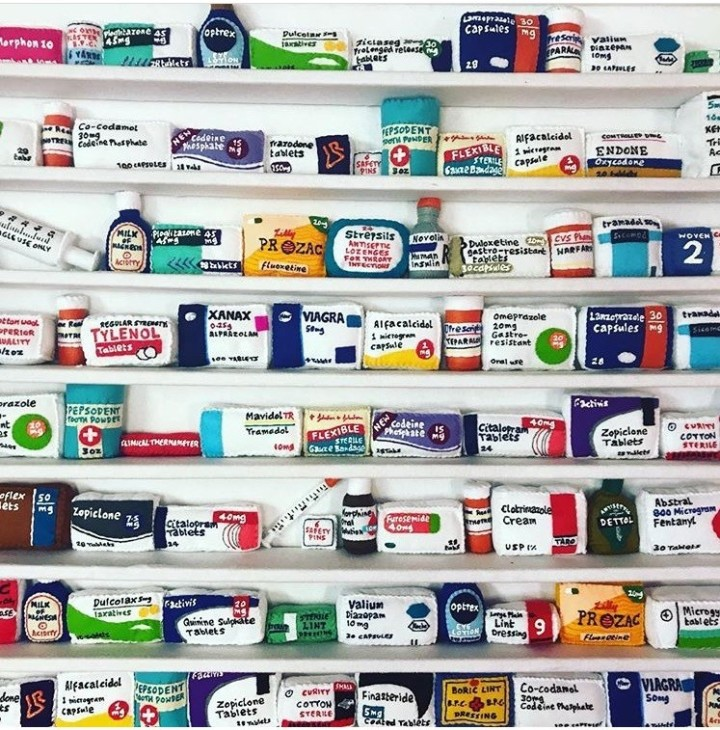 <span class=&#34;artist&#34;><strong>Lucy Sparrow</strong></span>, <span class=&#34;title&#34;><em>Pill Cabinet</em>, 2018</span>