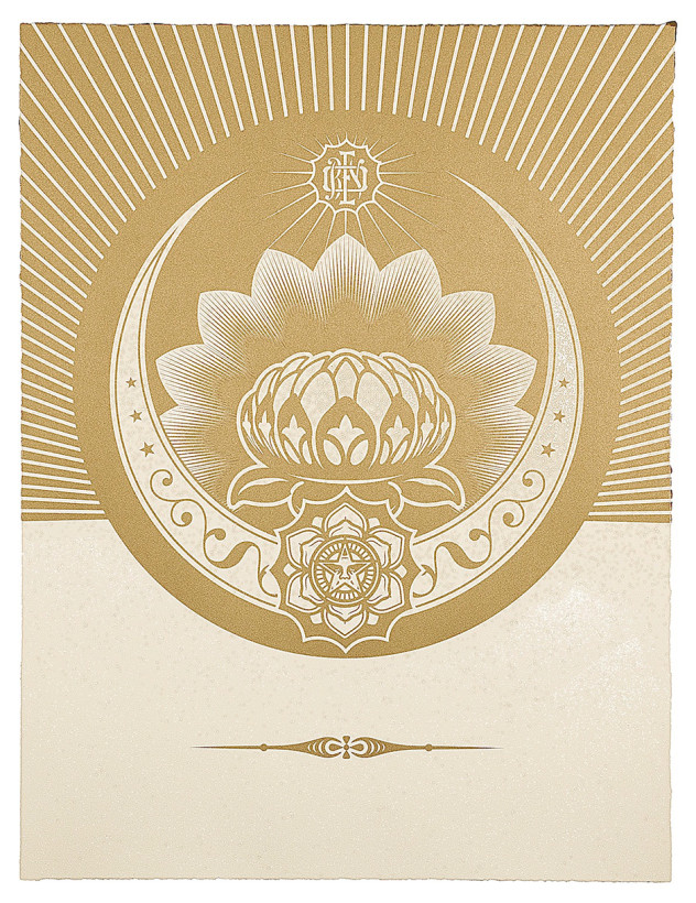 Obey Lotus Crescent - White and Gold