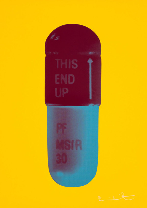 <span class=&#34;artist&#34;><strong>Damien Hirst</strong></span>, <span class=&#34;title&#34;><em>The Cure - Sunflower Yellow/Merlot/Sapphire</em></span>