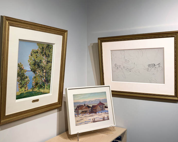 """Frank H. Johnston, Summer, Kenora, c. 1921, A.Y. Jackson, Port Joli, Que., c. 1927, and Augustus John's, Study for """"The Canadians Opposite Lens,"""" c. 1917-18 hung on the walls of Alan Klinkhoff Gallery in Toronto.   All three men were commissioned war artists in World War I."""