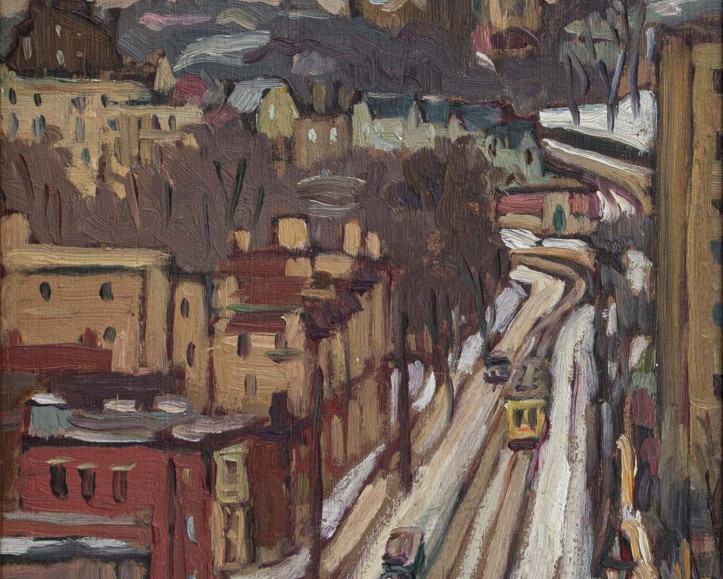 ''Looking up Côte-des-Neiges'' (circa 1930) by Kathleen Moir Morris