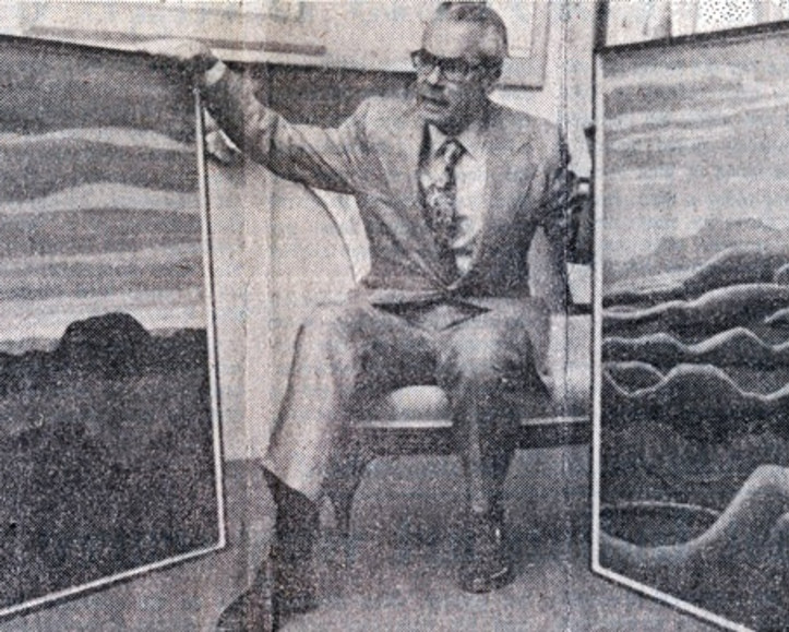 Walter Klinkhoff after his record breaking purchase of Lawren Harris' Gray Day, North Shore, Lake Superior XI, 1923 and Lake Superior Painting IX, 1923 at Walter Klinkhoff Gallery in 1974 (Photo: Montreal Star).