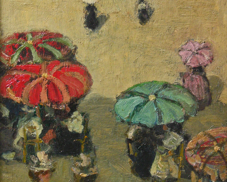 """''Umbrellas on the Beach, Brittany"""" (c. 1898) By James Wilson Morrice"""