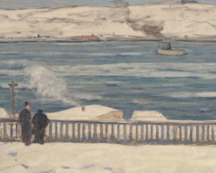 James Wilson Morrice, RCA (1865-1924). View Towards Levis from Quebec, 1909. Oil on canvas 23.3/4 x 31.1/2 in. (SOLD)