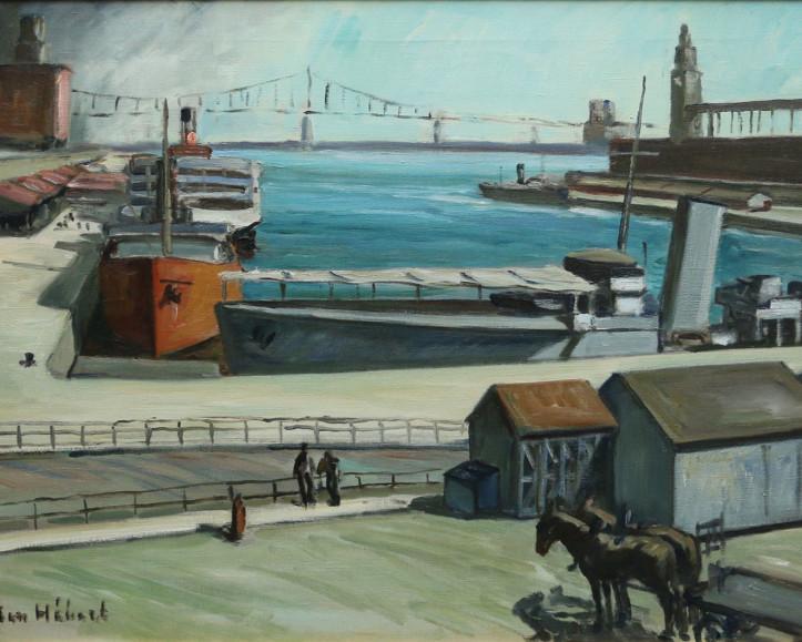Adrien Hébert, Port de Montréal, 1929, Huile sur toile, 23 x 34 po.