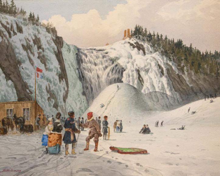 John B. Wilkinson (connu entre 1864 et 1915) Pain de sucre des chutes Montmorency, v. 1870, Aquarelle, 8 1/2 x 11 3/4 po.