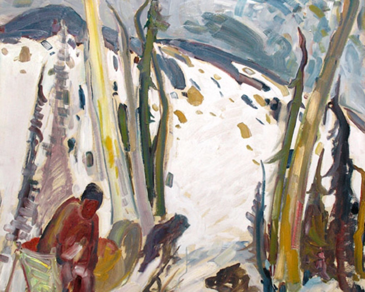 "René Richard Paints ""Trapper with Dogsled"""